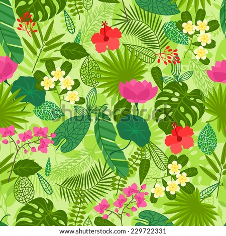 Seamless pattern with tropical plants, leaves and flowers. - stock vector