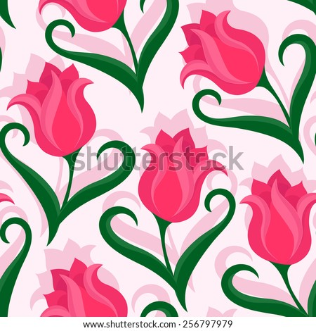Seamless pattern with tulips flowers. Beautiful floral background. Colorful vector illustration. - stock vector