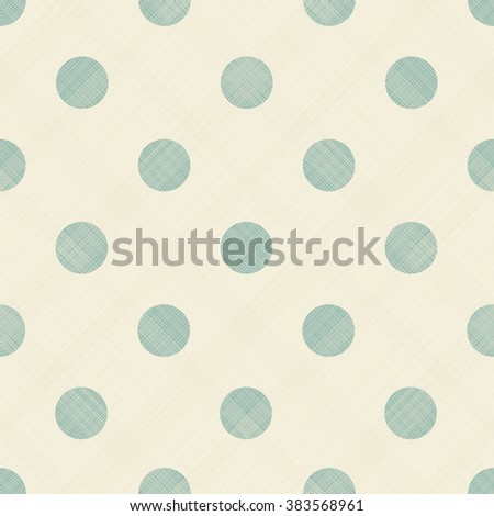 seamless pattern with turquoise polka dots on  beige diagonal texture background - stock vector