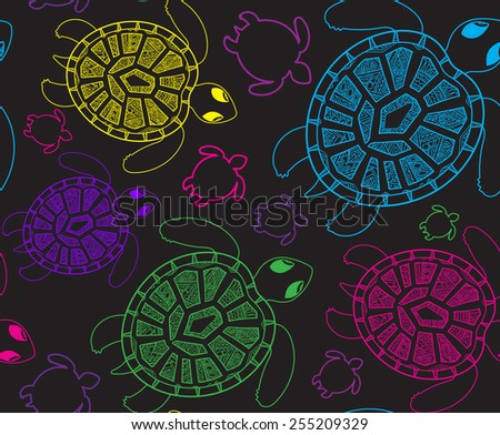 Seamless pattern with turtles. Seamless pattern can be used for wallpaper, pattern fills, web page background, surface textures. Seamless animal ornamental background. - stock vector