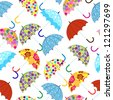 seamless pattern with umbrellas - stock vector