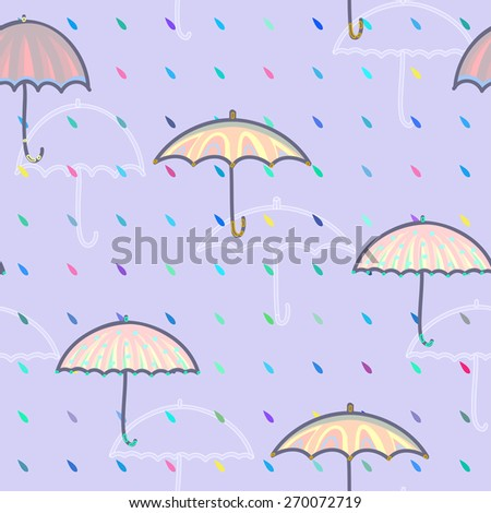 Seamless pattern with umbrellas and rain drops. Vector illustration for your design.