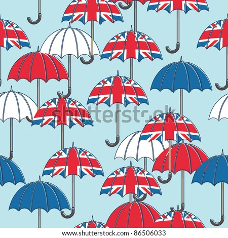 seamless pattern with umbrellas and union jacks, with clipping path - stock vector