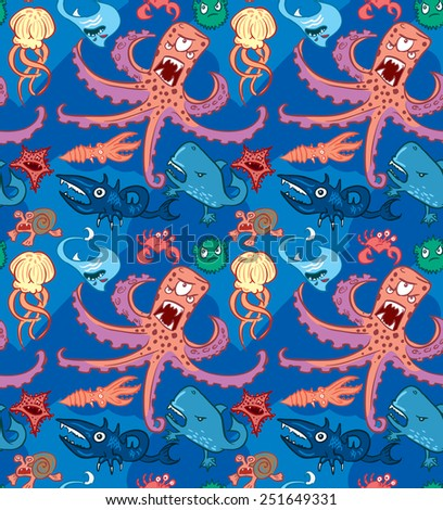 Seamless pattern with underwater monsters, vector background texture, dark blue sea octopus - stock vector