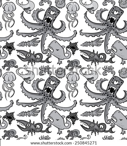Seamless pattern with underwater monsters, vector background texture, monochrome grayscale - stock vector
