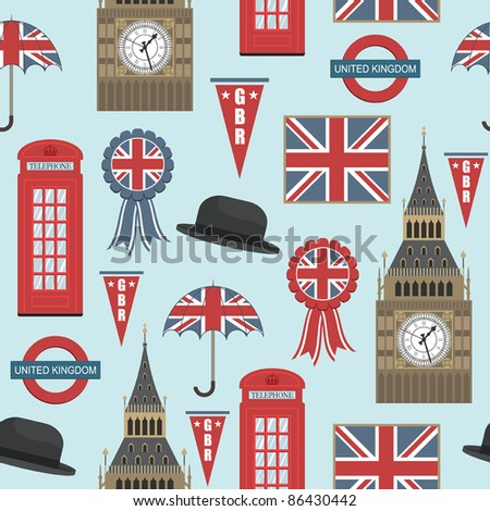 seamless pattern with united kingdom graphics, with clipping path - stock vector