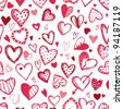 Seamless pattern with valentine hearts, sketch drawing for your design - stock vector