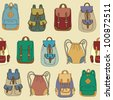 Seamless pattern with various backpacks - stock vector