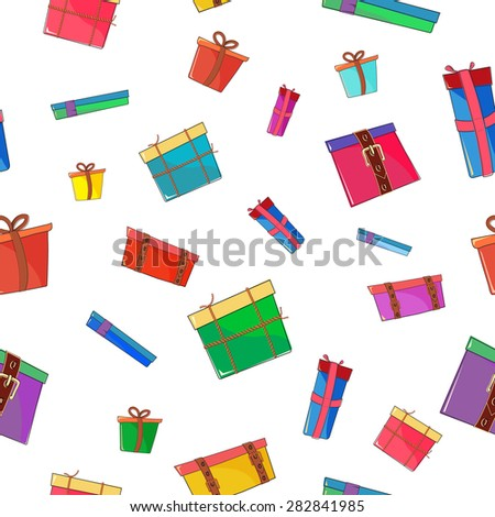 Seamless pattern with various colored boxes on transparent background. - stock vector