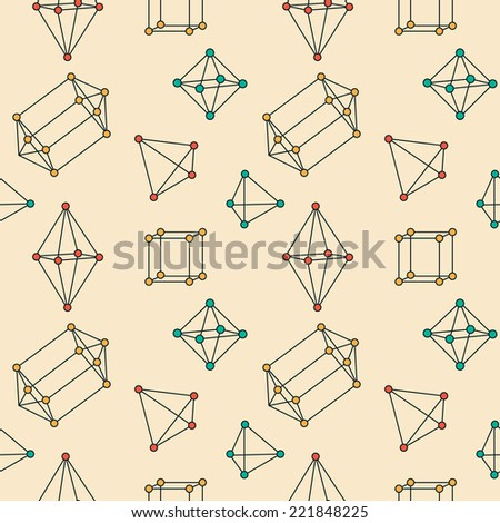 Seamless pattern with various crystal structure elements 2 - stock vector