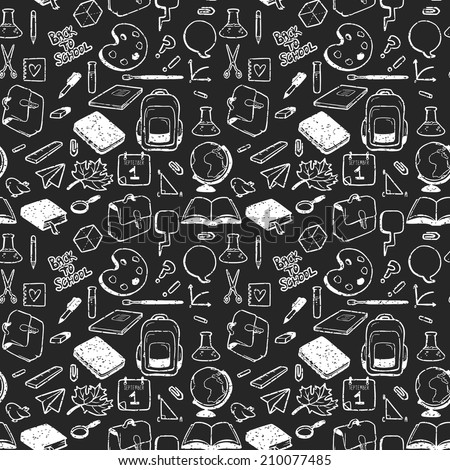 Seamless pattern with various elements for school drawn in chalk on black background. Vector seamless texture for wallpapers, pattern fills, web page backgrounds - stock vector