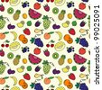Seamless pattern with various fruits and berries - stock vector