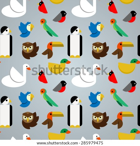 Seamless pattern with various species of birds such as swan parrot penguin duck owl cardinal toucan bullfinch cockatoo. Trendy flat design. Vector illustration. For web design and apps - stock vector