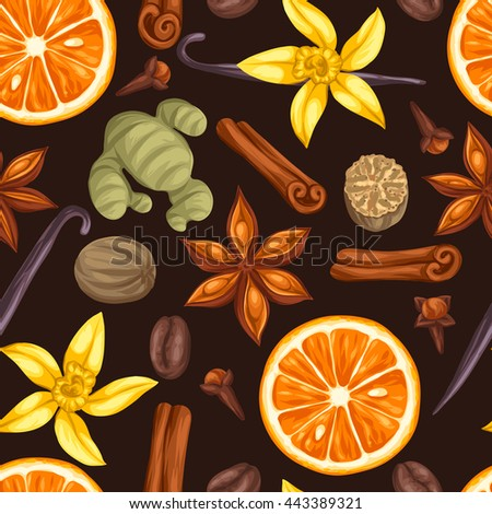 Seamless pattern with various spices. Illustration of anise, cloves, vanilla, ginger and cinnamon.