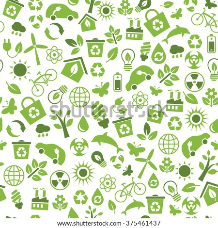 Seamless Pattern Vector Eco Icons Flat Vector de ...