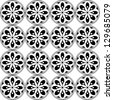 Seamless pattern  with vector rosette  with floral and geometrical ornament. Black and white illustration, - stock photo
