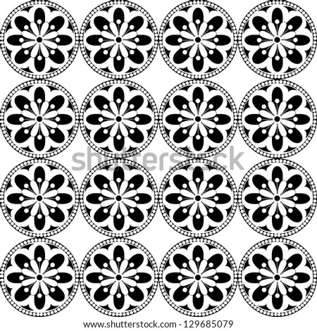 Seamless pattern  with vector rosette  with floral and geometrical ornament. Black and white illustration, - stock vector