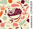 Seamless pattern with vector silhouettes of artistic vegetables. Vector background. - stock vector
