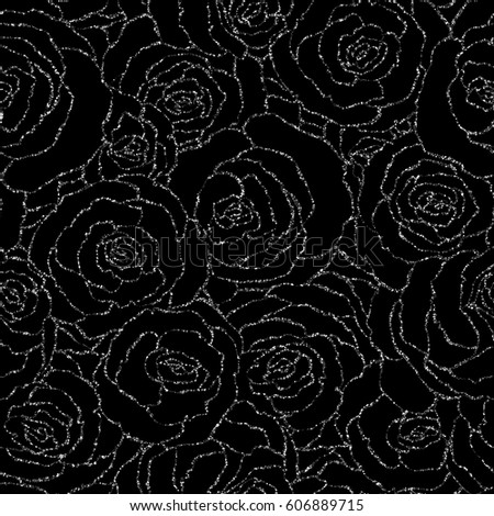 Seamless pattern with vector silver glitter roses. Vector illustration of a silhouette of a flower, consisting of sequins or glitter. Glittering decoration background, glamour shiny texture