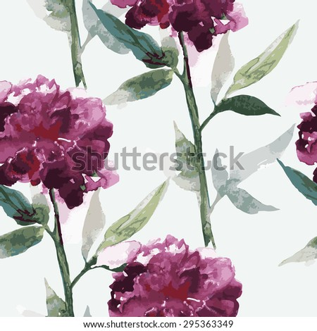 Seamless pattern with vector watercolor peonies,  - stock vector