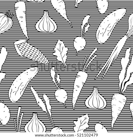 Seamless pattern with vegetables. Carrot, cucumber, onion, garlic, potato, corn, radish, beet, lettuce. Striped background. Black and white. Hand drawn.
