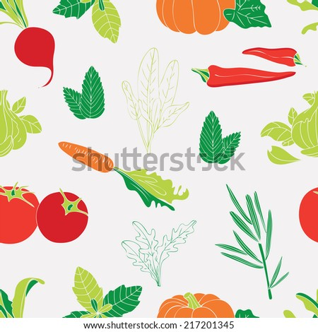 Seamless pattern with vegetables.Used for kitchen, cafe stuff, wallpaper, pattern fills, web page background, surface textures.
