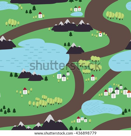Seamless pattern with views of the mountains, lake, trees, and houses.  Can be used for wallpaper, pattern fills, web page background, surface textures.