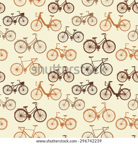 Seamless pattern with vintage bicycles - stock vector