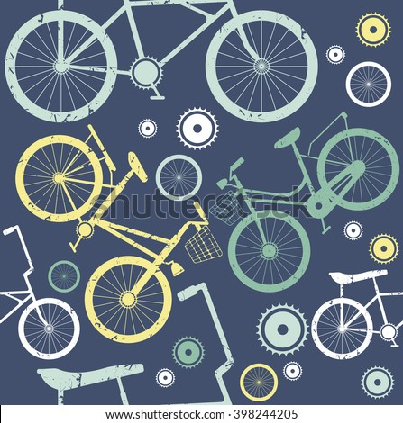 Seamless pattern with vintage bicycles on blue background. Template can be used for wallpapers,  surface textures, textile, tile, kids cloth and more creative designs. - stock vector