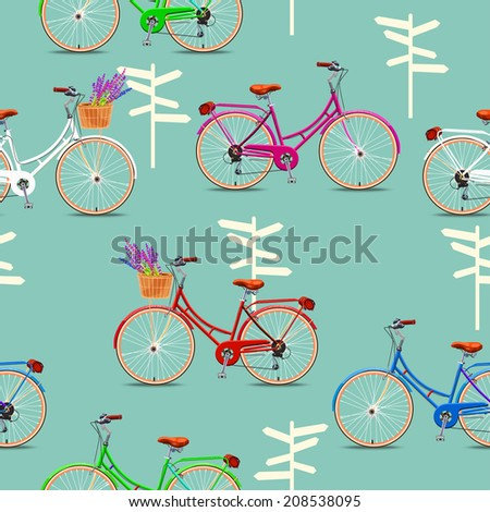 Seamless pattern with vintage bicycles on green background. Vector illustration. - stock vector