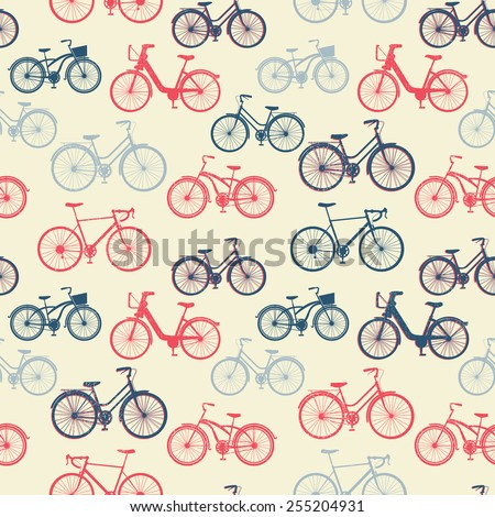 Seamless pattern with vintage bicycles with grunge texture - stock vector