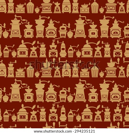 Seamless pattern with vintage coffee mills silhouettes. Background design for cafe or restaurant menu. - stock vector