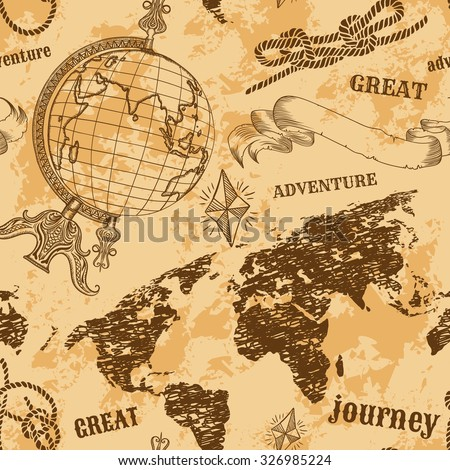 Seamless pattern vintage globe abstract world vector de seamless pattern with vintage globe abstract world map rope knots ribbon retro gumiabroncs Gallery
