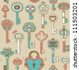Seamless pattern with vintage keys - stock photo