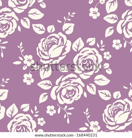 Seamless pattern with vintage roses. Background with flower silhouettes - stock vector