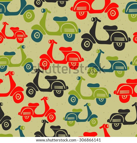 Seamless pattern with vintage scooters. Vector repeated background in retro style. - stock vector