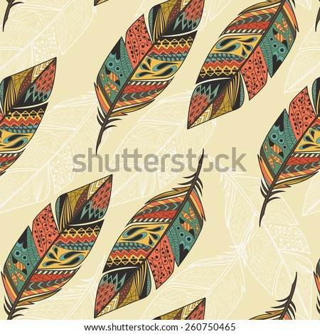 Seamless pattern with vintage tribal ethnic hand drawn colorful feathers, vector illustration - stock vector