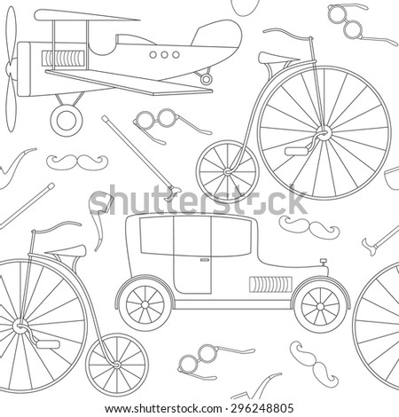 Seamless pattern with vintage vehicles and other retro characters.In the linear black-and-white style. Vector illustration. - stock vector