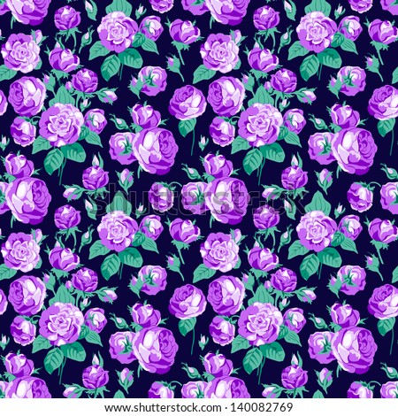 Seamless pattern with violet roses - stock vector