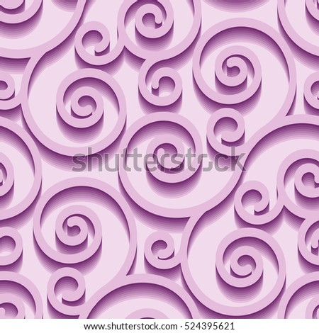 Seamless pattern with violet swirl ornament on white