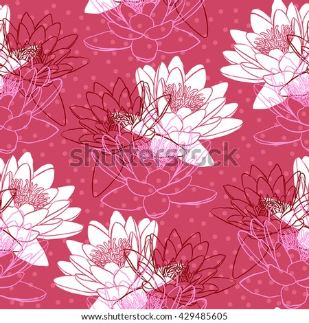 Seamless pattern with water lilies. Vector illustration - stock vector