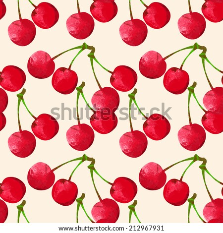 Seamless pattern with watercolor berry cherry. Endless repeating print background texture. Fabric design. Wallpaper - vector  - stock vector