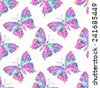Seamless pattern with watercolor butterflies on white background - stock vector