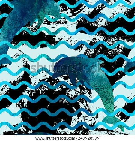 Seamless pattern with watercolor dolphin's silhouettes and waves. - stock vector