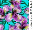 Seamless pattern with watercolor flowers. Iris. Orhid. Vector. Hand drawn. - stock photo
