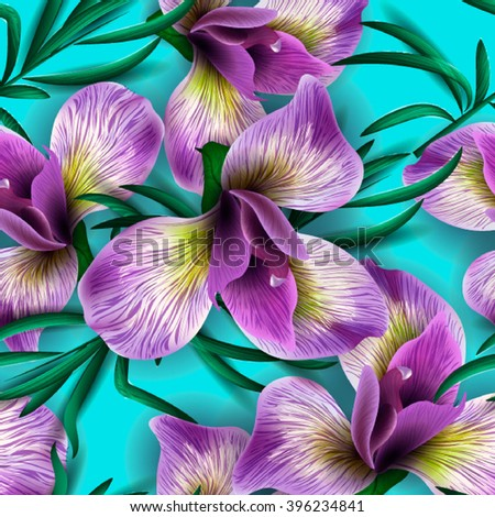 Seamless pattern with watercolor flowers. Iris. Orhid. Vector. Hand drawn. - stock vector