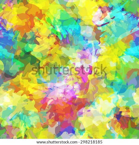 Seamless pattern with watercolor imprint of thread coil. Sloppy strokes of a paint. Vector 3 - stock vector