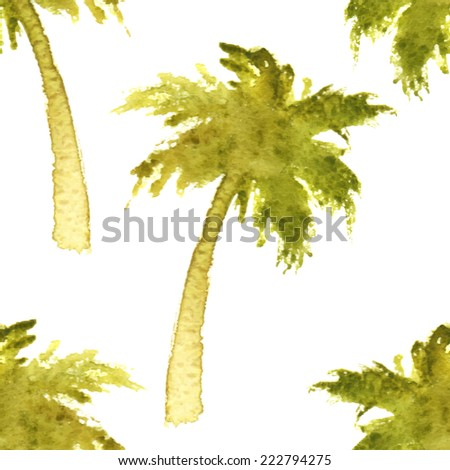 seamless pattern with watercolor palm trees - stock vector