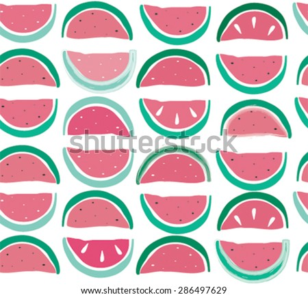 seamless pattern with watermelons - stock vector