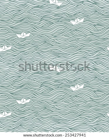 Seamless pattern with waves and little paper boats (can be used without the boats) - stock vector